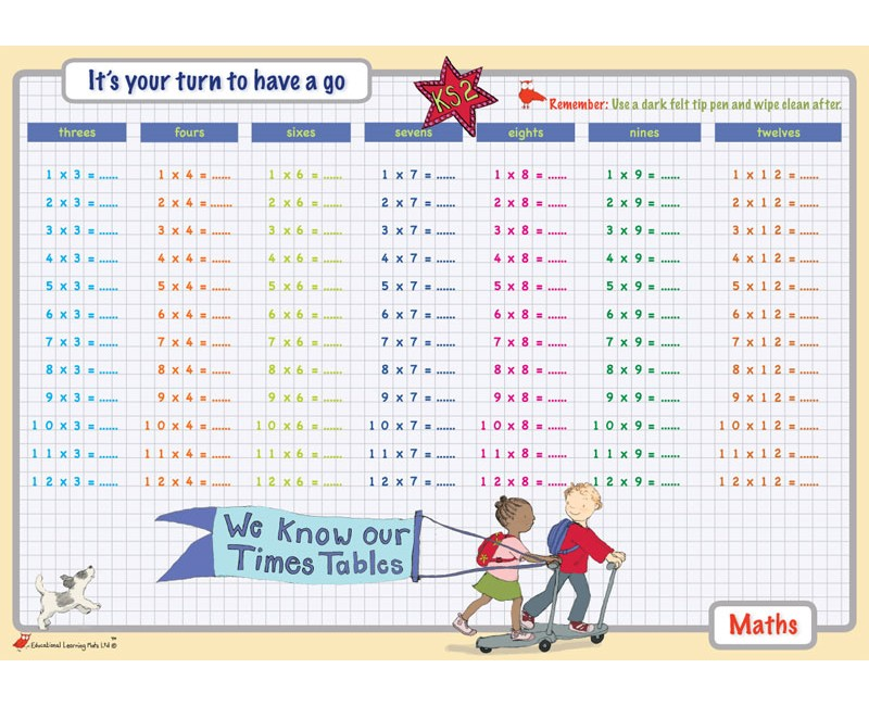 Learning mat times tables 3 4 6 7 8 9 12 for Table multiplication 7 8 9